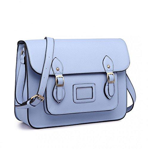 Satchel Bag Women School Work Ladies Style Girls Cambridge Blue Plain 0xfwfYq6