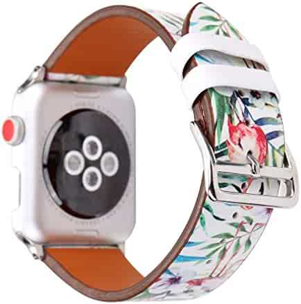 Juzzhou Watch Band Leather Replacement For Apple Watch iWatch 38mm/42mm Series 1/2/3 All Model With Metal Adapter Adjustable Buckle