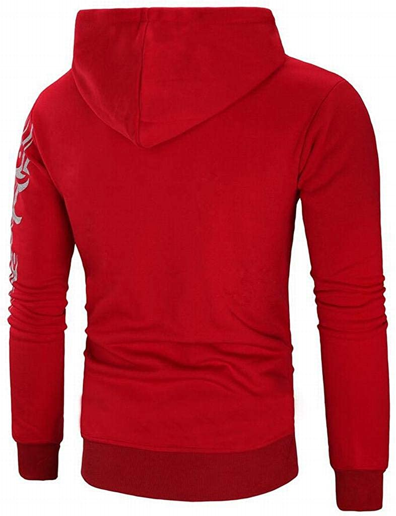 YYG Mens Casual Floral Sport Long Sleeve Drawstring Pullover Hoodie Sweatshirt