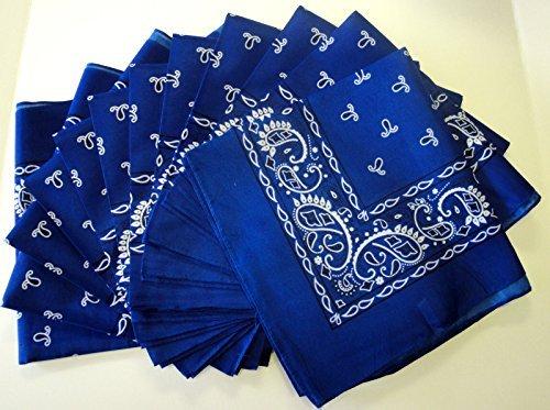Royal-Blue-Bandana-12-Pieces-Paisley-Wholesale-Lot-Brand-New-Party-Favors