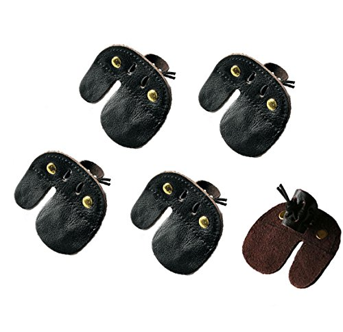YEHAM Pack of 5 Cow Leather Archery Finger for protect your fingers far from ()