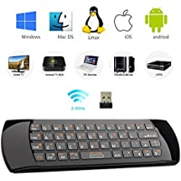 Rii K25A 4 in 1 Multifunction Portable 2.4GHz Mini Wireless Fly Mouse Keyboard ,Audio Feature And IR Infrared Remote Control With Rechargable Li-ion Battery for PC,Laptop,Raspberry PI 2, MacOS,Linux, HTPC, IPTV, Google Box, Android Box, Smart TV ,XBMC,Windows 2000 XP Vista 7 8 10 (Black)