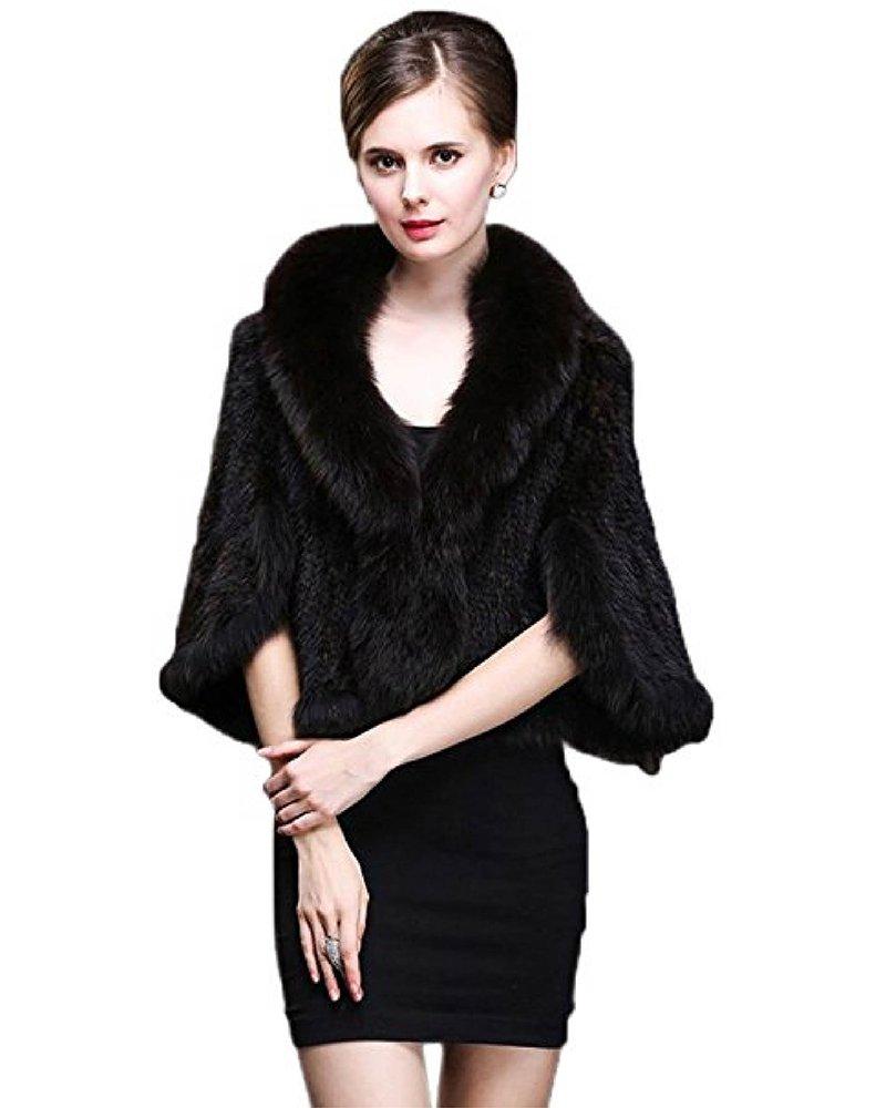 Top Fur Women Mink Fur Coat Cape with Fox Fur Collar Coffee