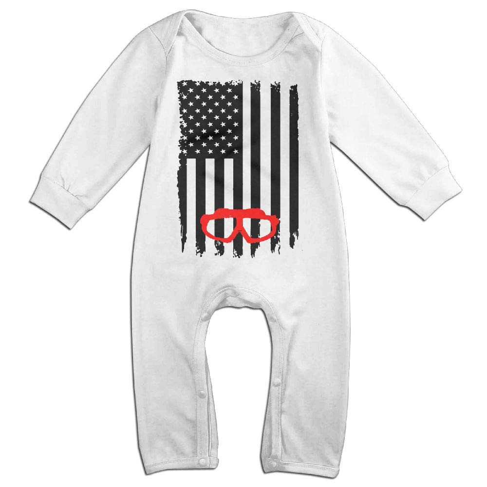 UGFGF-S3 Swimming Scuba Diving USA Flag Pride Long Sleeve Infant Baby Boy Girl Baby Bodysuit for 6-24 Months Bodysuit