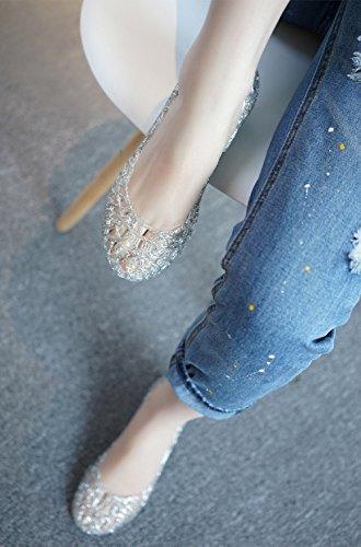 Morbido Donna Sandali Scarpa Estive Eleganti Nero Giallo Jelly 40 Punta Bianco Bianco Oro Basse Ballerine Chiusa con 35 Comode Zeppa Traspirante Rosa 8wqxO8Frf