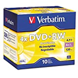 Verbatim 94839 DVD+RW Discs, 4.7GB, 4x, w/Slim Jewel Cases, Pearl, 10/Pack