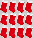 18'' Red Christmas Stocking (12 Pack) W/White Plush Cuff & Red Hanging Tag