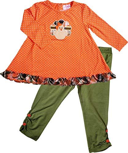 Baby Toddler Little Girls Thanksgiving's Day Turkey Trot Tunic Legging Set -