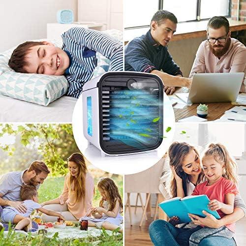 Hisome Refroidisseur d'air Mini Climatiseur Portable 5 en 1 Air Cooler Humidificateur Purificateur Diffuseur D'huile Essentielle Veilleuse USB Ventilateur Anti-fuites avec 3 Vitesses 7 Couleurs LED