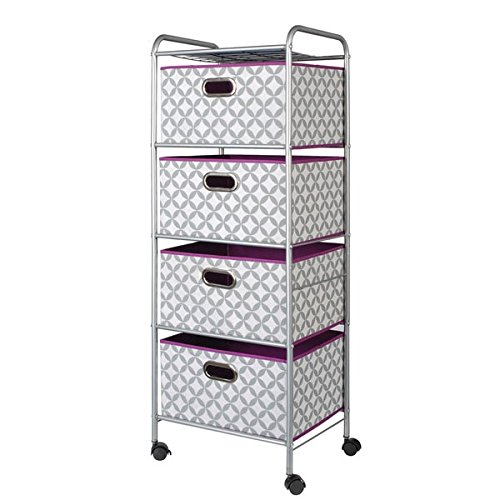 4-Drawer Rolling Storage Cart in Gray and White and Purple Finishes, Mobile Office and Home Storage Cart, Cabinet with Baskets on Wheels, Bundle with Expert Guide