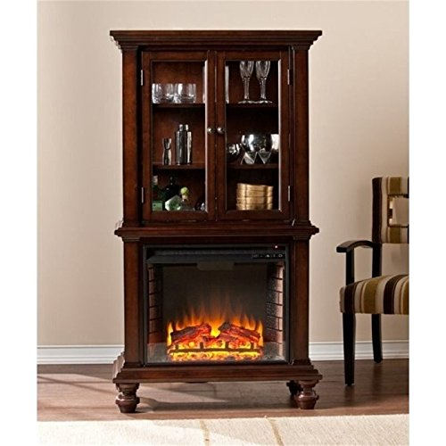 Bowery Hill China Cabinet with Electric Fireplace in Espresso