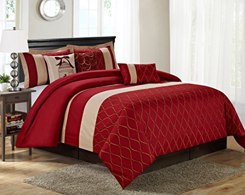 7 Piece MALIBU Wave Embroidery Comforter Set- Queen King Cal.King Size (King, Burgundy) ()