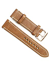 Handmade Vintage Replacement Leather Watch Strap/Watch Band (24mm, Rose Gold Buckle/Brown)