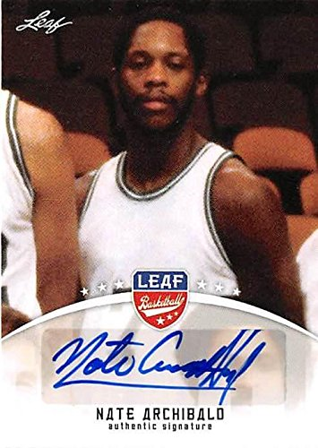 Autographed Basketball Archibald (Nate Archibald autographed basketball card (Celtics Nets UTEP Legend) 2012 Leaf #BANA1 Certified - Unsigned Basketball Cards)