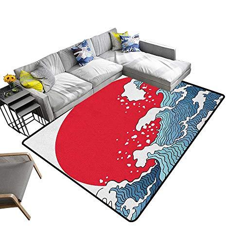 Japanese Wave Custom Pattern Floor mat Big Red Sun Setting Scenery Tropical Nautical Artistic Tsunami Swirls 78