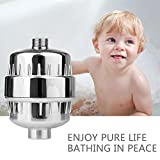 Shower Filter 15 Stages High Output Water Filter with Two Filter Cartridges Remove Chlorine Heavy Metals Colibacillus Water Impurities Protect Sensitive Skin For Baby Pregnant Women