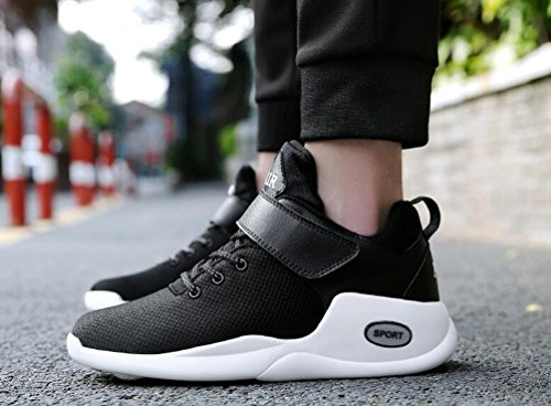 Buffer Shock Training Mesh Running ligero Monk-correas de los hombres transpirable antideslizante Soft Soles zapatos de baloncesto UE tamaño 39-47 black and white