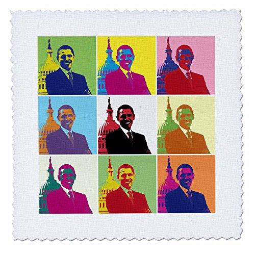 3dRose qs_130692_1 President Barack Obama Pop Art Multi-Views Quilt Square, 10 by 10-Inch ()