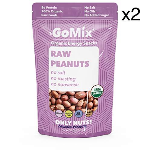 GoMix Raw Organic Valencia Peanuts, #1 Keto Snack, 3.5 oz, (2 bags) Superfood, Raw, Protein, Vegan, NonGMO, Gluten Free. No Salt, No Roasting, No Nonsense!