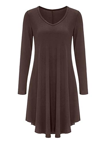 Women's Swing Long Sleeve Casual Loose T-Shirt Dress By Tooklanet