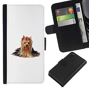 KLONGSHOP // Tirón de la caja Cartera de cuero con ranuras para tarjetas - Yorkshire Terrier perro de pelo largo Bow - Sony Xperia Z3 D6603 //