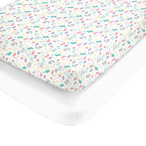 Carter's 100% Cotton Sateen 2 Piece Fitted Crib Sheets, Lavender/Pink/Grey/White
