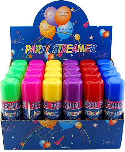 VIP Home Essentials 96 Pack of Party Streamer Spray String in a Can Children's Kid's Party Supplies, Perfect for Parties/Events