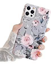 Ownest Kompatibel med iPhone 13 Pro Max fodral med lila blommor och grå löv för flickor kvinna löv med blommönster romantisk elegant mjuk TPU-skydd för iPhone 13 Pro Max-rosa blommor