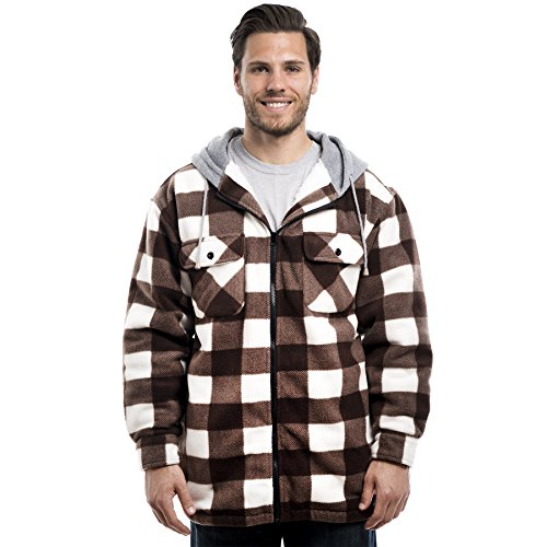 Trail Crest Mens Buffalo Plaid Classic Sherpa Lined Zip Up Hooded Shirt Jacket, Brown, ()