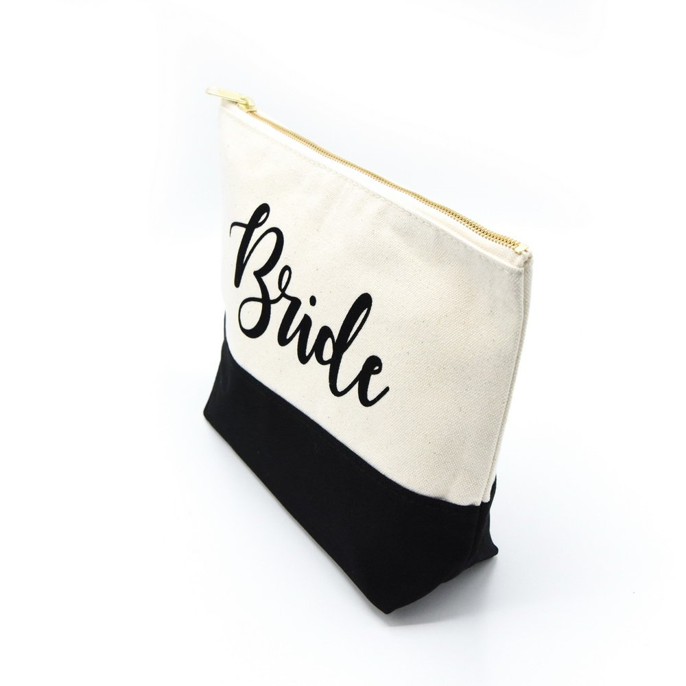PumPumpz Personalized Gifts Wedding ''Bride'' Large Canvas Travel YKK Zipper Makeup Bag.''Which arrive you within 5 days'' (Bride Black) by PumPumpz (Image #2)