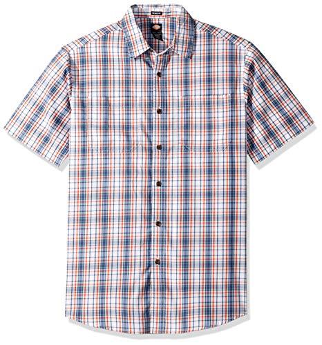 Dickies Men's Big and Tall Short Sleeve Flex Shirt, Rinsed White/Dark Denim Plaid 3X