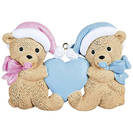 Amazon.com: Personalized Twins Bears Baby's First Christmas Ornament ...