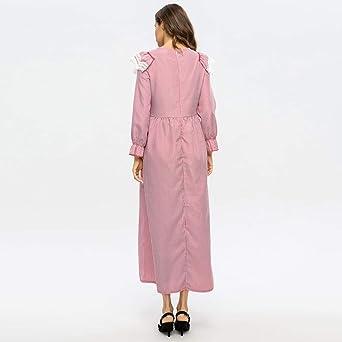FRAUIT damska sukienka w paski, koronkowa, długa, elegancka, letnia sukienka, sukienka maxi, w kwiaty, kawiarnia, turecka, długa sukienka w paski, z koronkowym grzybem: Odzież