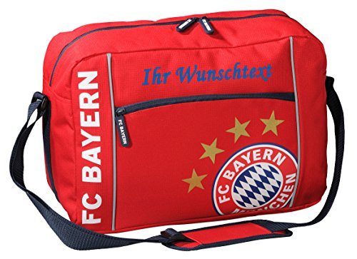 FC Bayern Schultertasche mit Ihrem Wunschtext in Ihrer Wunschfarbe (Blau)