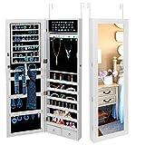 Prettyshop4246 New Gift for Your Bedroom Dressing Room Home Decor Makeup Mirror Jewelry Cabinet Storage Hook Full-Length Necessary Beauty Tool White Modern Design Velvet Liner