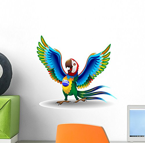 (Wallmonkeys Macaw Cartoon with Brazil Wall Decal Peel and Stick Graphic (12 in H x 12 in W) WM83216)