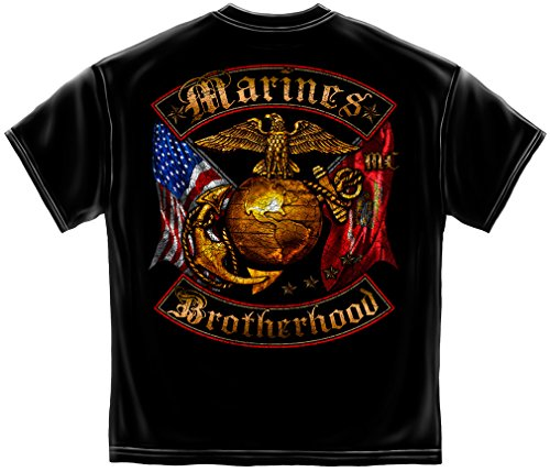 Marine Corps, USMC T-Shirt Usmc Marines Double Flaged Brotherhood Distressed Gold Foil Medium Black