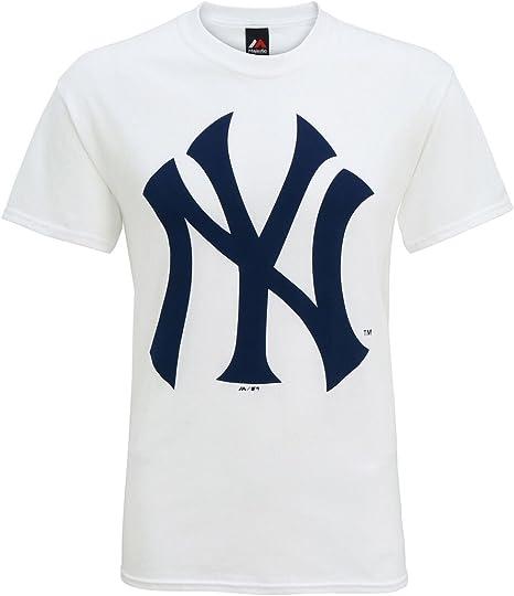 American Sports mercancía mj001whitl Hombre Oficial New York Yankees de béisbol Logotipo Grande Camiseta Grande, Blanco, L: Amazon.es: Deportes y aire libre