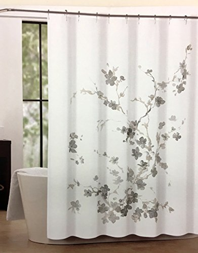 Tahari Luxury Shower Curtain Printemps 2 Beige Taupe Gray Floral with Gray Taupe and Beige Branches