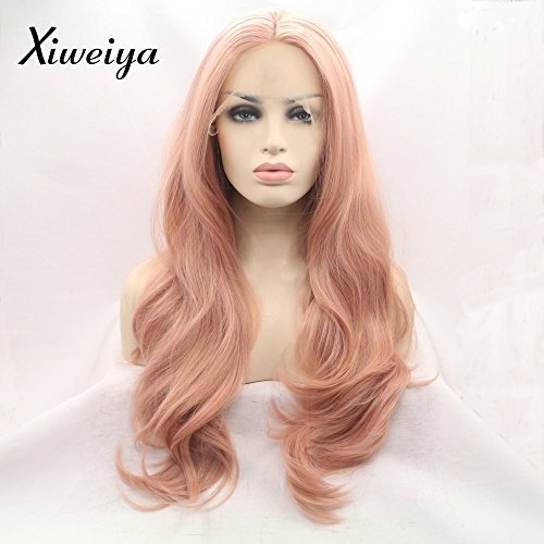peach red Wigs For Women Rosie Whiteley Hairstyle Rose Gold Pastel Pink Wig Girls Synthetic Lace Front Wig With Heat Resistant Hot Sale
