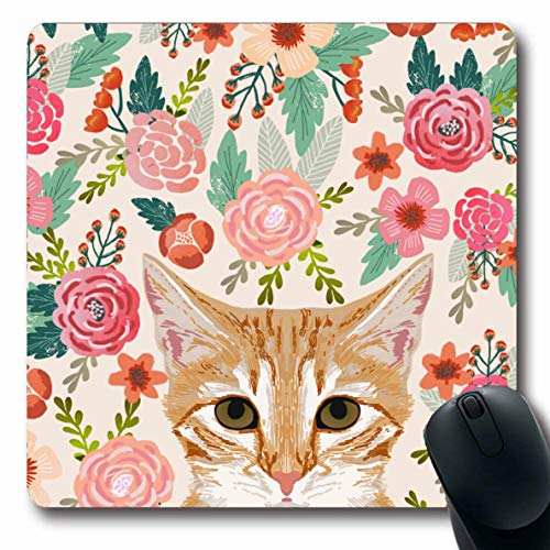 Ahawoso Mousepads Orange Portrait Tabby Cat Spring Florals Cute Lady Person Oblong Shape 7.9 x 9.5 Inches Oblong Gaming Mouse Pad Non-Slip Rubber Mat