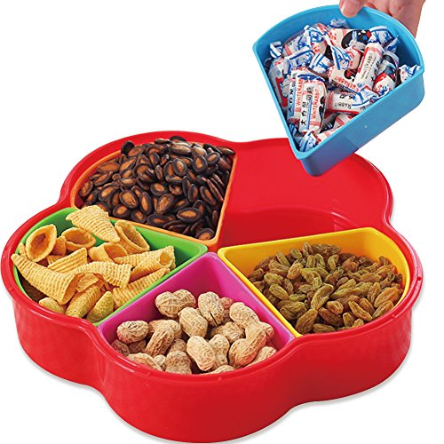 WuKong Creative Multi Sectional Snack Storage Box Set with Lid, Dried Fruits, Nuts, Candies Fruits(Plum Five grid)