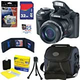 Canon PowerShot SX500 IS 16.0 MP Digital Camera in Black + 32GB Memory Card + Classic Camera Bag + Accessory Kit
