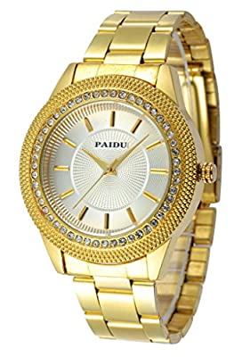 Tzou Mens Gold Watches Diamond Dial Gold Steel Analog Quartz Wrist Watch