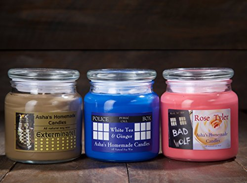 Doctor Who Soy Candles - Set of 3 - TARDIS - Dalek - Rose Tyler - 16 oz. Apothecary Jar