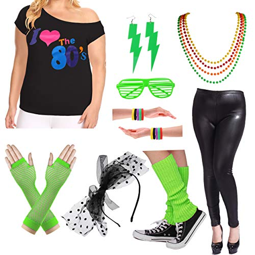 Plus Size 80s Fancy Outfit Costume Set with Leather Leggings for Womens (2X/3X, Green) -