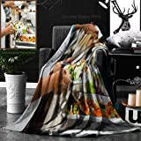 Unique Custom Double Sides Print Flannel Blankets People Group Catering Buffet Food Indoor In Luxury Restaurant With Meat Colorful Fruit Super Soft Blanketry for Bed Couch, Twin Size 60 x 70 Inches