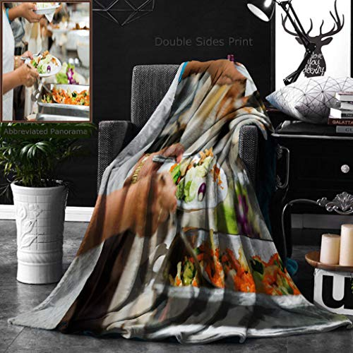 Unique Custom Double Sides Print Flannel Blankets People Group Catering Buffet Food Indoor In Luxury Restaurant With Meat Colorful Fruit Super Soft Blanketry for Bed Couch, Twin Size 60 x 70 Inches by Ralahome