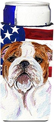 Bandera de Estados Unidos con Bulldog Inglés Ultra aisladores de bebidas para latas de delgado SS4046MUK