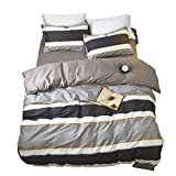 Reversible Striped Duvet Cover Set Queen Modern 3 Piece Cotton Bedding Set Full Hotel Quality Teens Men Boys Duvet Comforter Cover Set Luxury Soft Full Queen Bedding Collection